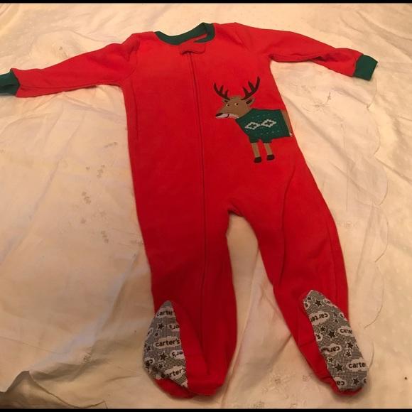 NWT Carters Reindeer Unicorn Girls Red Christmas Footed Fleece Pajamas Sleeper